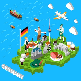Carte touristique isométrique de l'allemagne pour les touristes