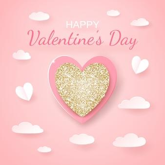 Carte transparente de la saint-valentin avec des coeurs découpés en papier doré et papier réaliste, des clowds sur rose.