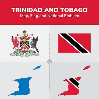 Carte de trinité-et-tobago, drapeau et emblème national