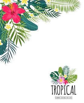 Une carte tropicale avec des feuilles de palmier et des fleurs exotiques. le design de la jungle estivale est idéal pour les flyers, les cartes postales, les étiquettes et les designs uniques. vecteur