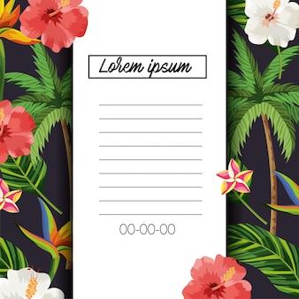 Carte tropicale avec des fleurs et des feuilles exotiques