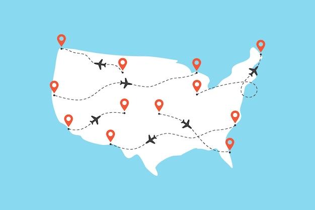 Carte des usa avec trajectoires de vol d'avion