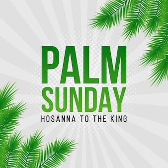 Carte de vacances du dimanche des rameaux, affiche avec bordure de feuilles de palmier réaliste, cadre. fond de vecteur.