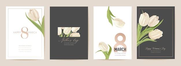 Carte de vacances du jour de la femme 8 mars. illustration vectorielle florale de printemps. modèle de fleurs de tulipes réalistes de voeux, fond de fleur de luxe, dépliant de concept de journée internationale de la femme, conception de fête moderne