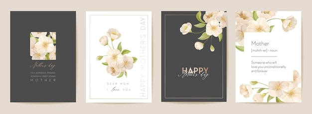 Carte de vacances de fête des mères moderne. carte postale maman et enfant. illustration vectorielle florale de printemps. modèle de voeux réaliste de fleurs de cerisier sakura, fond de fleur, conception de fête d'été, couverture pour les mères