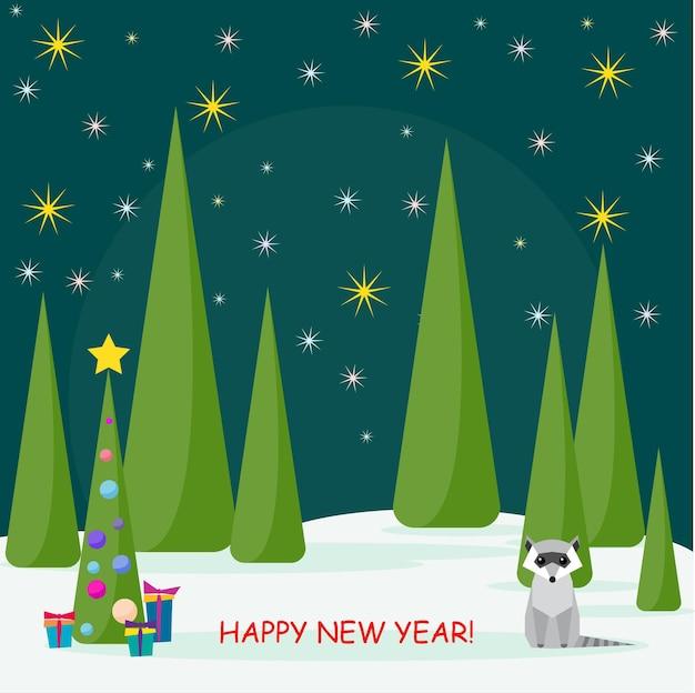 Carte de vacances d'hiver avec spruse mignon raton laveur et de nombreux cadeaux de couleurs vives dans la forêt de nuit