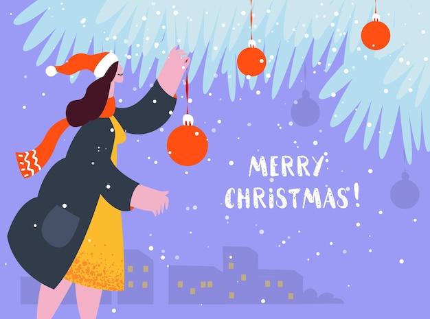 Carte de vacances de noël les gens ont célébré noël jeune femme décorée d'arbre de noël