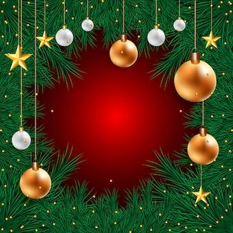 Carte de vacances de noël pour des boules 3d réalistes sur des branches de sapin sur rouge