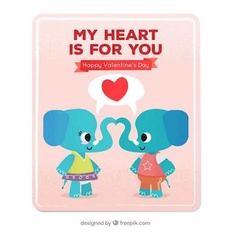 Carte de valentine avec les éléphants mignons