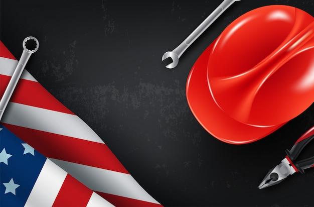 Carte de vecteur de bonne fête du travail. illustration de la fête nationale américaine avec drapeau usa
