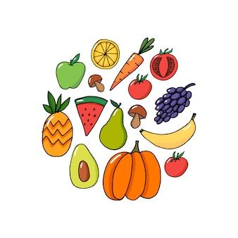 Carte de vecteur de concept - fruits de légumes de la journée mondiale de la santé