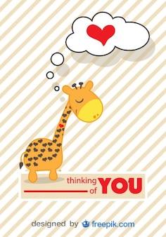 Carte de vecteur de girafe de bande dessinée dans l'amour
