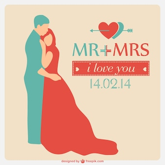 Carte de vecteur de mariage