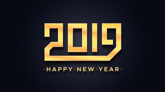 Carte de vecteur de typographie joyeux nouvel an chinois 2019