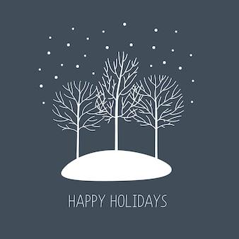 Carte vectorielle avec des arbres d'hiver dessinés à la main sous la neige. beaux éléments de design floral, style graphique.