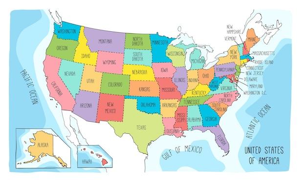 Carte vectorielle des états-unis d'amérique.