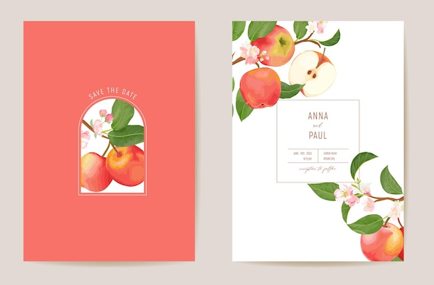 Carte vectorielle florale de pomme de mariage, fruits exotiques, fleurs, invitation de feuilles. cadre de modèle aquarelle. couverture de feuillage botanique save the date, affiche moderne, design tendance, fond de luxe