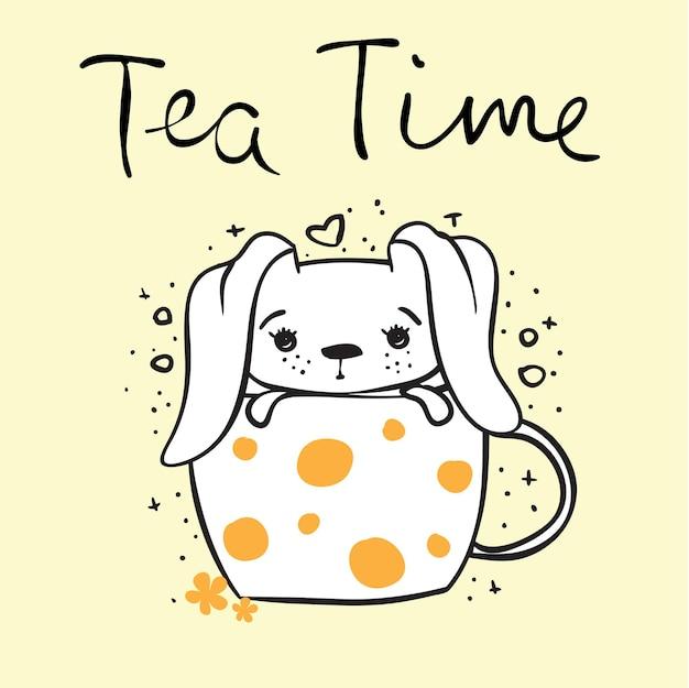 Carte vectorielle avec lapin mignon dans la tasse et texte dessiné à la main - l'heure du thé