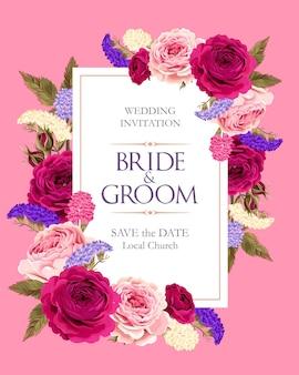 Carte vectorielle vintage avec des roses violettes et roses et des fleurs sèches multicolores