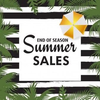 Carte de vente d'été avec des feuilles de palmier