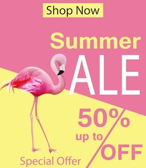Carte de vente d'été flamingo