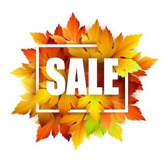 Carte de vente avec des feuilles d'automne