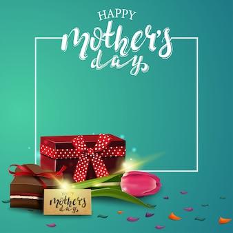 Carte verte de voeux bonne fête des mères