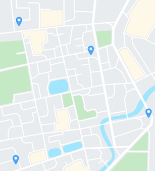 Carte de la ville abstraite avec des épingles. application de navigation