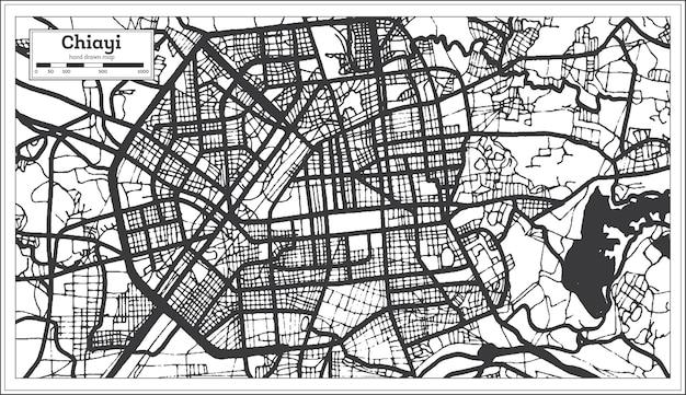 Carte de la ville de chiayi taiwan en couleur noir et blanc