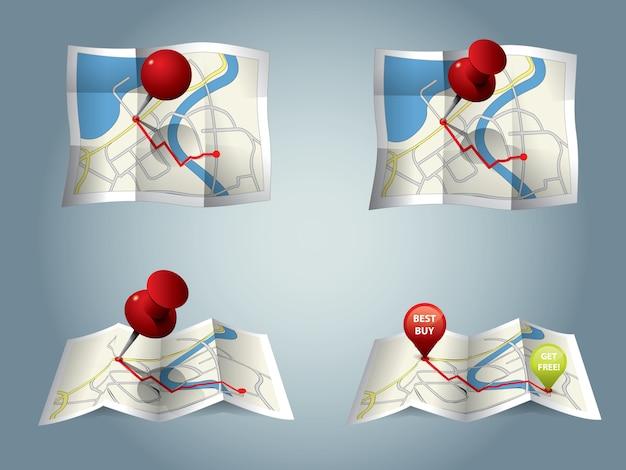 Carte de la ville avec gps icônes et itinéraire