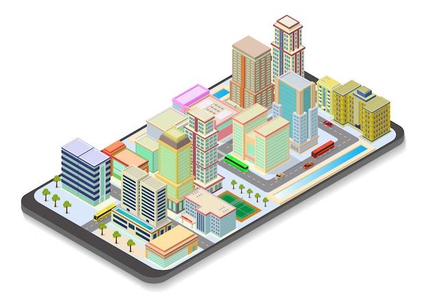 Carte de la ville isométrique sur téléphone intelligent