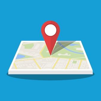 Carte de la ville avec marqueur, icône vectorielle