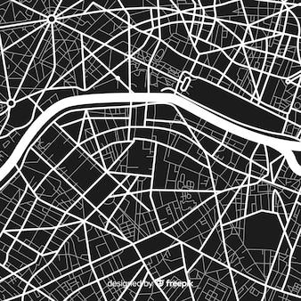 Carte de ville numérique en noir et blanc