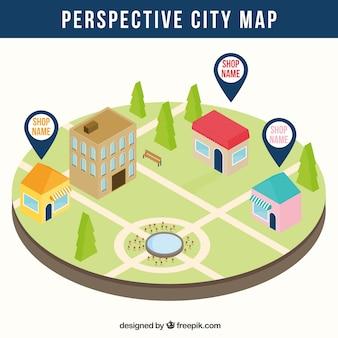 Carte de la ville en perspective avec des cartes épingle