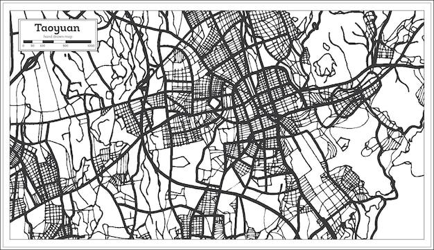 Carte de la ville de taoyuan taiwan en couleur noir et blanc. carte muette. illustration vectorielle.