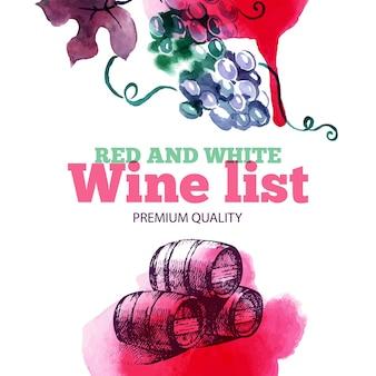 Carte des vins. croquis dessinés à la main et illustration aquarelle. conception de menus
