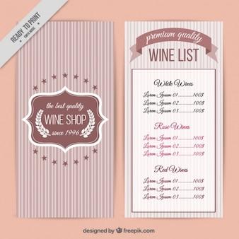 Carte des vins avec un fond rayé
