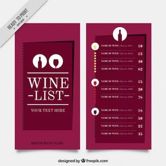 Carte des vins minimaliste