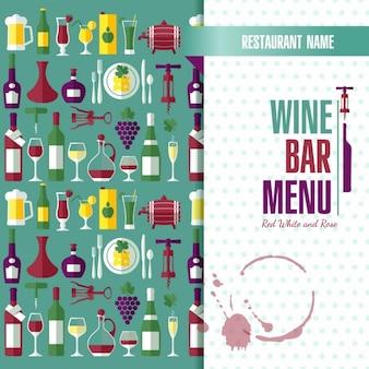 Carte des vins résumé de fond de style plat