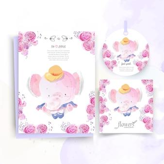 Carte vintage animal mignon floral dans un style aquarelle.