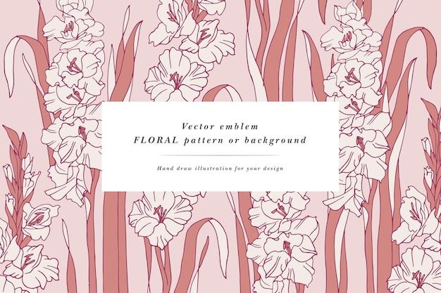 Carte vintage avec cadre de fleurs de guirlande florale de fleurs de glaïeul pour magasin de fleurs avec des motifs d'étiquettes flo ...