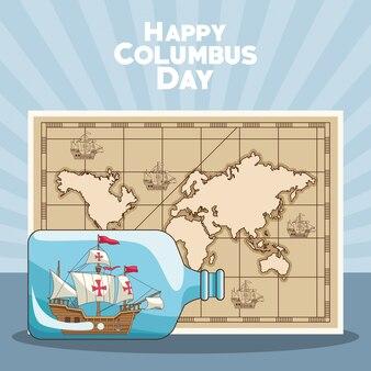 Carte vintage et conception du jour de columbus heureux