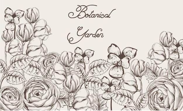 Carte vintage avec des fleurs lineart