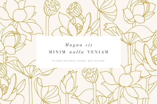 Carte vintage avec des fleurs de lotus avec des dessins d'étiquettes