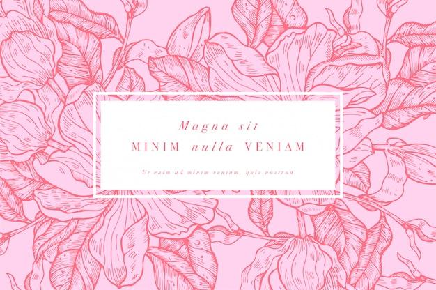 Carte vintage avec des fleurs de magnolia. couronne florale. cadre de fleur pour fleuriste avec dessins d'étiquettes. carte de voeux de magnolia floral d'été. fond de fleurs pour l'emballage de cosmétiques.