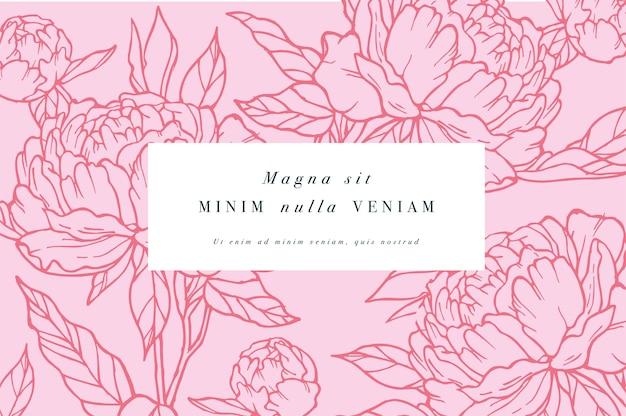 Carte vintage avec des fleurs de pivoine. couronne florale. cadre de fleurs pour fleuriste avec dessins d'étiquettes. carte de voeux rose floral d'été. fond de fleurs pour l'emballage de cosmétiques.
