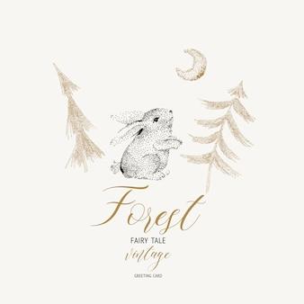 Carte vintage hiver noir et blanc avec lièvre mignon et forêt magique