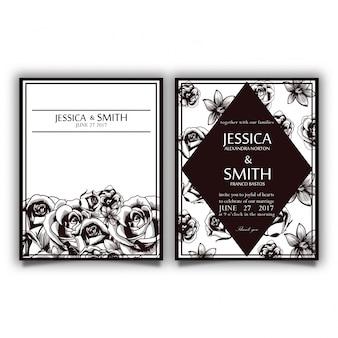 Carte vintage d'invitation de fleur