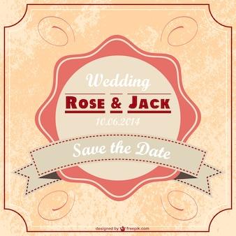 Carte vintage de mariage gratuit