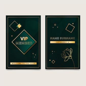 Carte vip élégante avec des détails dorés